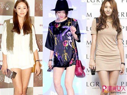 晒美腿有技巧 韩国女星显高美搭